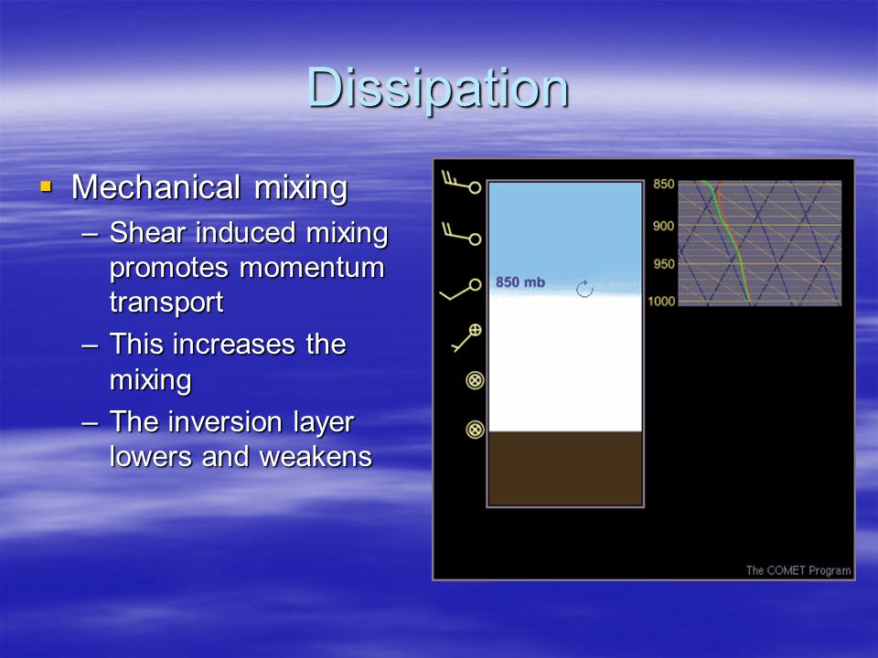 Dissipation  Mechanical mixing –Shear induced mixing promotes momentum transport –This increases the mixing –The inversion layer lowers and weakens