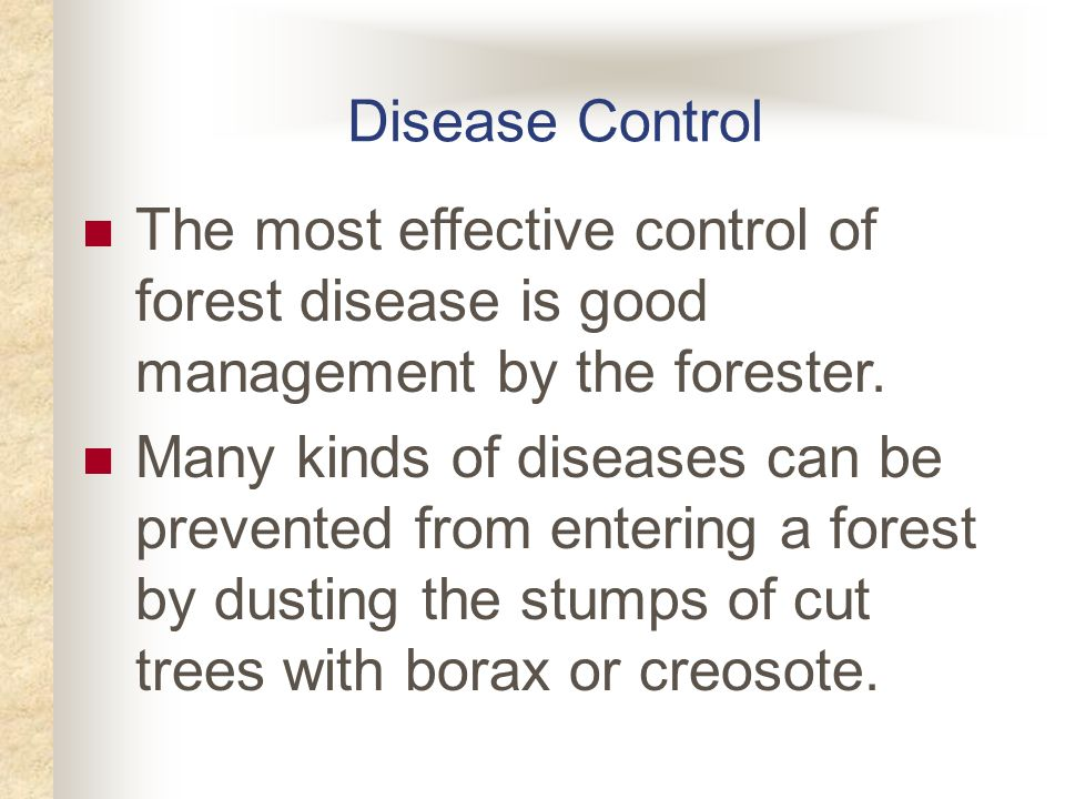 Disease Control The most effective control of forest disease is good management by the forester.