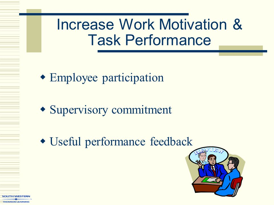 Increase Work Motivation & Task Performance  Employee participation  Supervisory commitment  Useful performance feedback