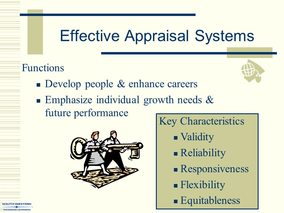 Effective Appraisal Systems Functions Develop people & enhance careers Emphasize individual growth needs & future performance Key Characteristics Vali