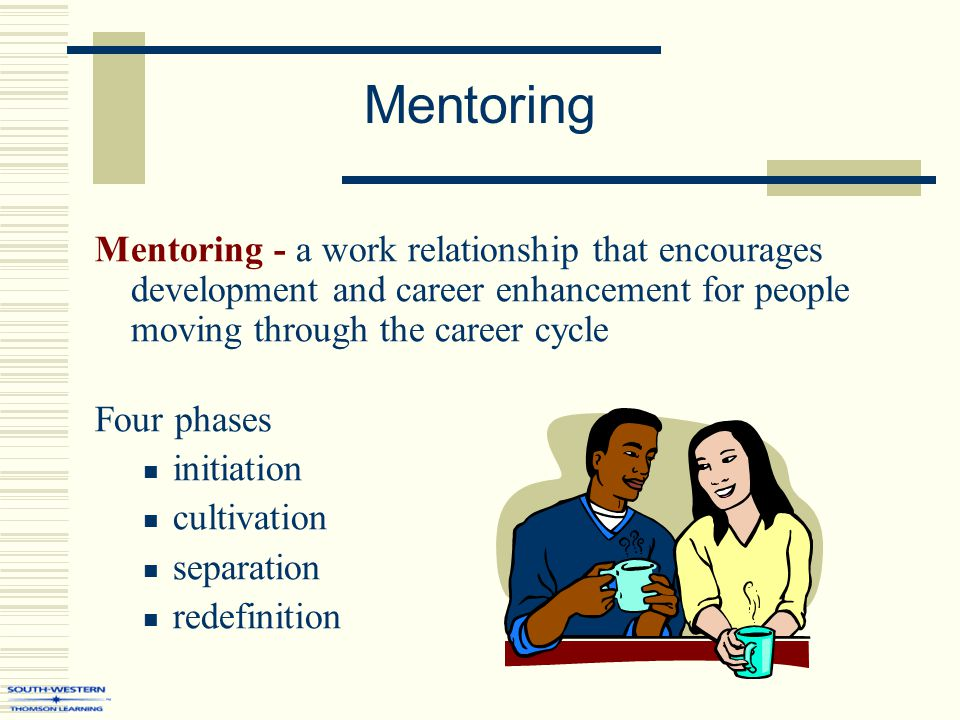 Mentoring Mentoring - a work relationship that encourages development and career enhancement for people moving through the career cycle Four phases in