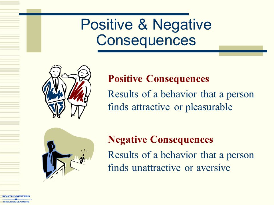 Positive & Negative Consequences Positive Consequences Results of a behavior that a person finds attractive or pleasurable Negative Consequences Results of a behavior that a person finds unattractive or aversive