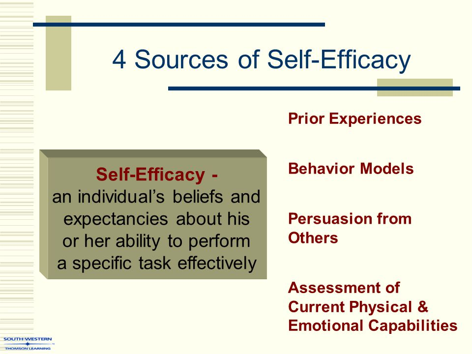 4 Sources of Self-Efficacy Self-Efficacy - an individual's beliefs and expectancies about his or her ability to perform a specific task effectively Prior Experiences Persuasion from Others Assessment of Current Physical & Emotional Capabilities Behavior Models
