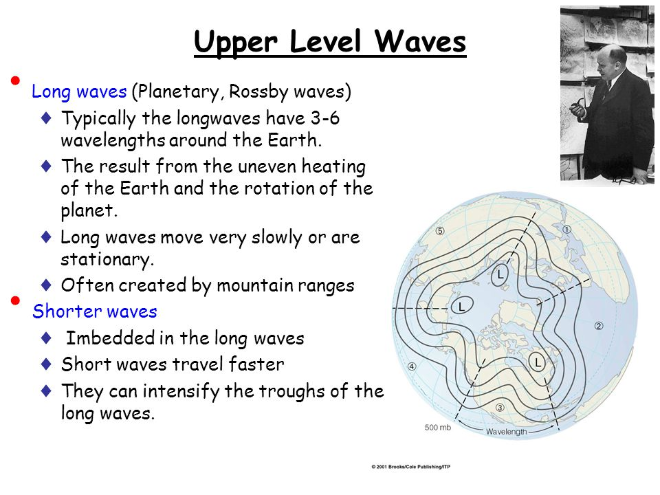 Upper Level Waves Long waves (Planetary, Rossby waves) ♦ Typically the longwaves have 3-6 wavelengths around the Earth. ♦ The result from the uneven h