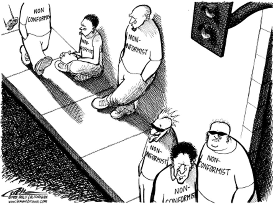 Conformity Changing one's behavior to match the responses or actions of others (no pressure necessarily) Changing one's behavior to match the responses or actions of others (no pressure necessarily)