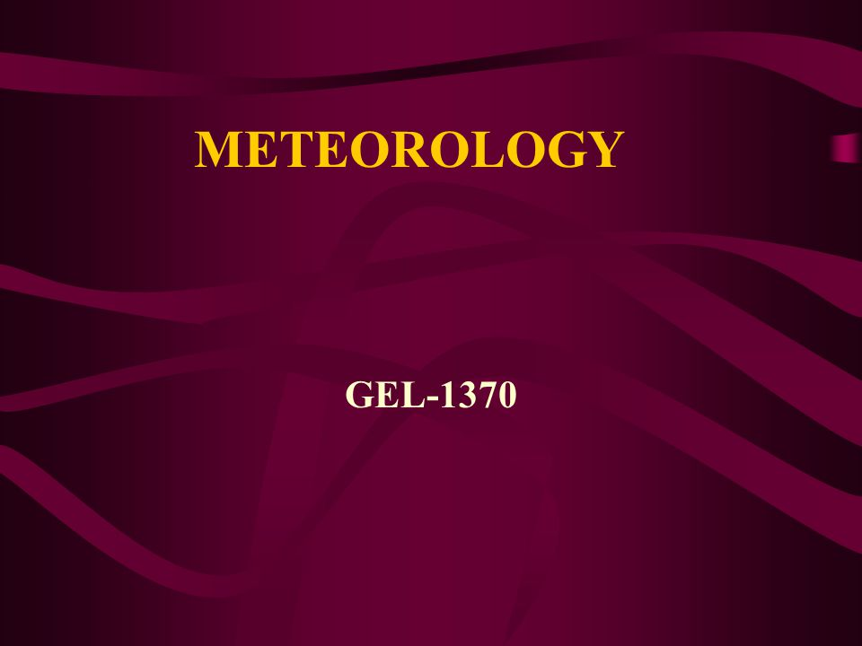 METEOROLOGY GEL-1370