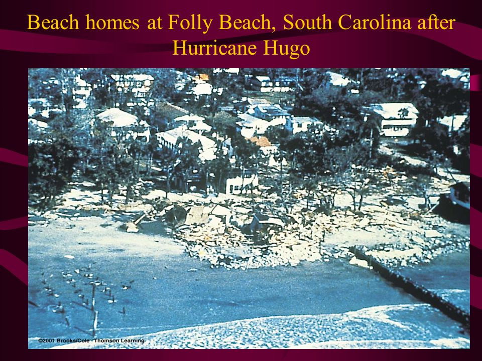 Beach homes at Folly Beach, South Carolina after Hurricane Hugo