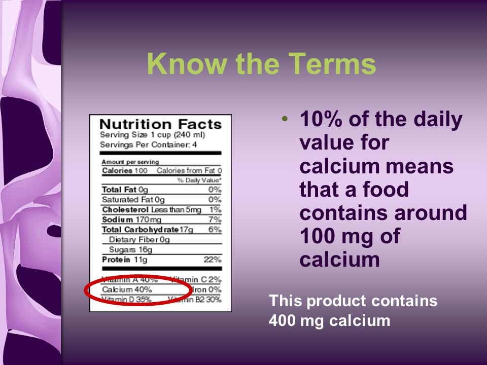 Know the Terms 10% of the daily value for calcium means that a food contains around 100 mg of calcium This product contains 400 mg calcium