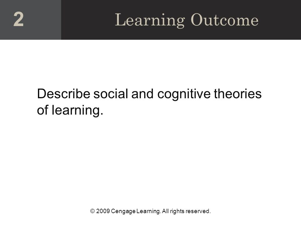 Learning Outcome Describe social and cognitive theories of learning. 2