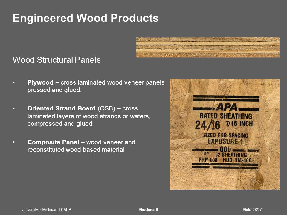 Engineered Wood Products Wood Structural Panels Plywood – cross laminated wood veneer panels pressed and glued.