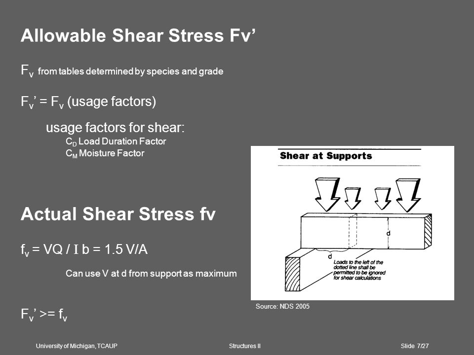 Allowable Shear Stress Fv' F v from tables determined by species and grade F v ' = F v (usage factors) usage factors for shear: C D Load Duration Factor C M Moisture Factor Actual Shear Stress fv f v = VQ / I b = 1.5 V/A Can use V at d from support as maximum F v ' >= f v University of Michigan, TCAUP Structures II Slide 7/27 Source: NDS 2005