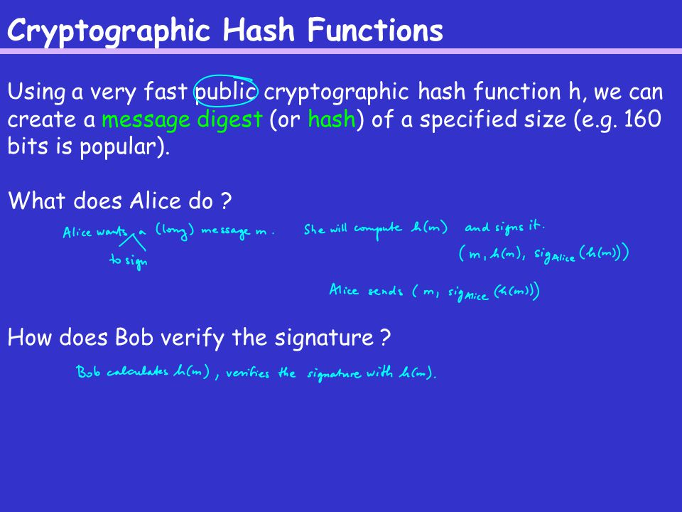 Cryptographic Hash Functions Using a very fast public cryptographic hash function h, we can create a message digest (or hash) of a specified size (e.g.