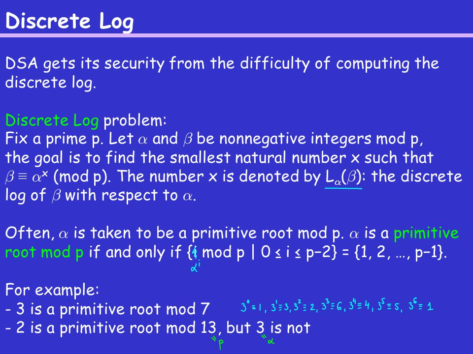 Discrete Log DSA gets its security from the difficulty of computing the discrete log.