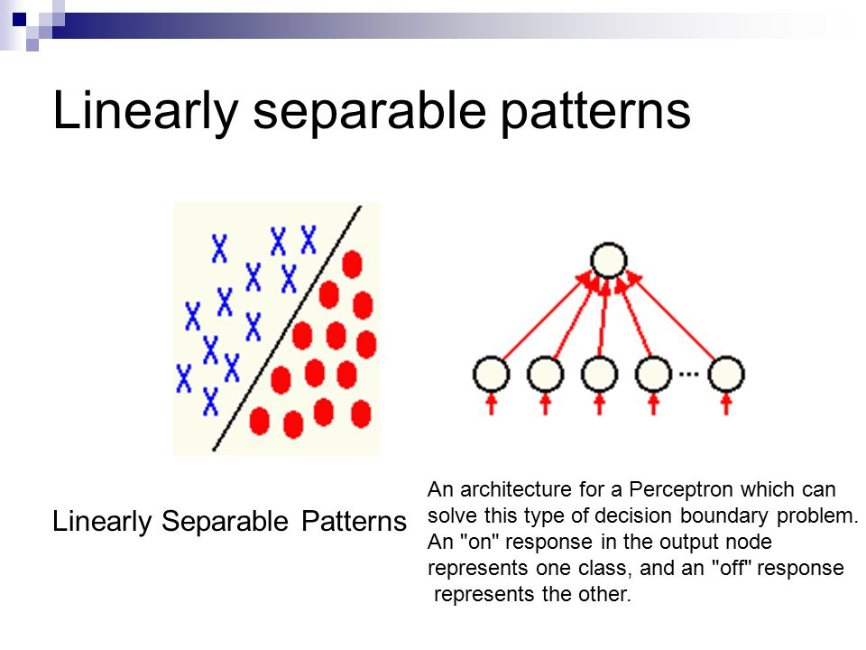 Linearly separable patterns Linearly Separable Patterns An architecture for a Perceptron which can solve this type of decision boundary problem.