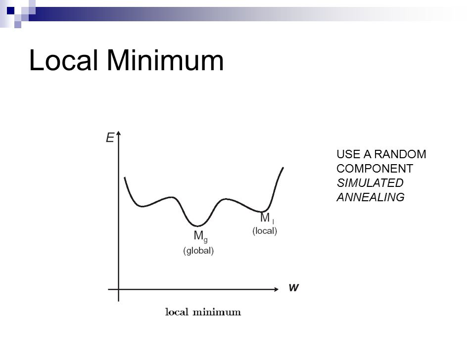 Local Minimum USE A RANDOM COMPONENT SIMULATED ANNEALING