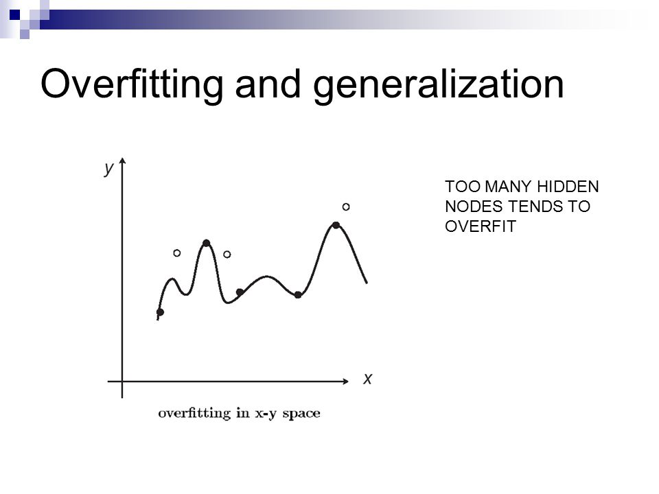 Overfitting and generalization TOO MANY HIDDEN NODES TENDS TO OVERFIT