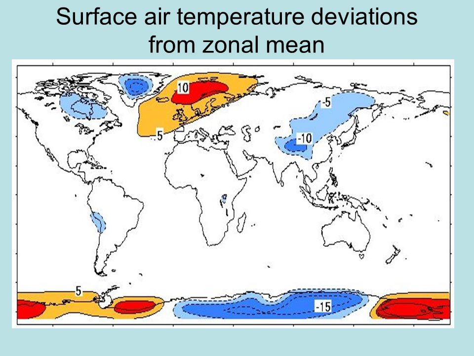 Surface air temperature deviations from zonal mean