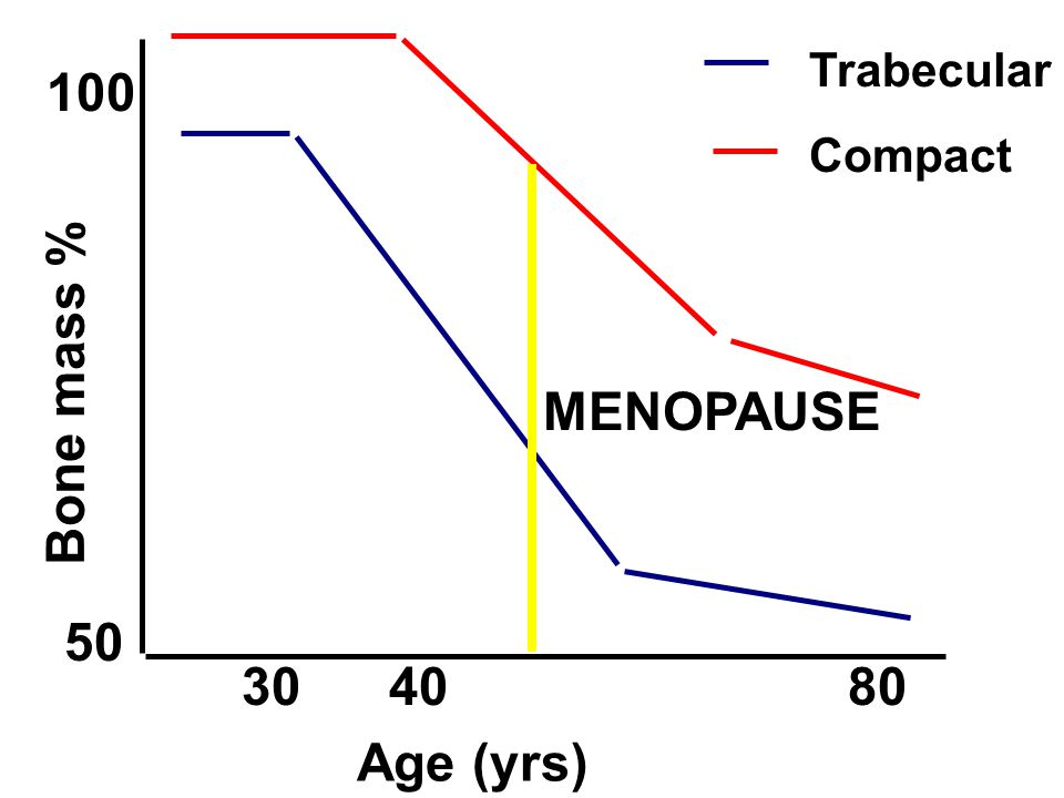 Age (yrs) Bone mass % 50 100 Trabecular Compact 30 40 80 MENOPAUSE