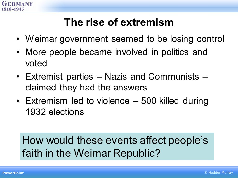 The rise of extremism Weimar government seemed to be losing control More people became involved in politics and voted Extremist parties – Nazis and Communists – claimed they had the answers Extremism led to violence – 500 killed during 1932 elections How would these events affect people's faith in the Weimar Republic
