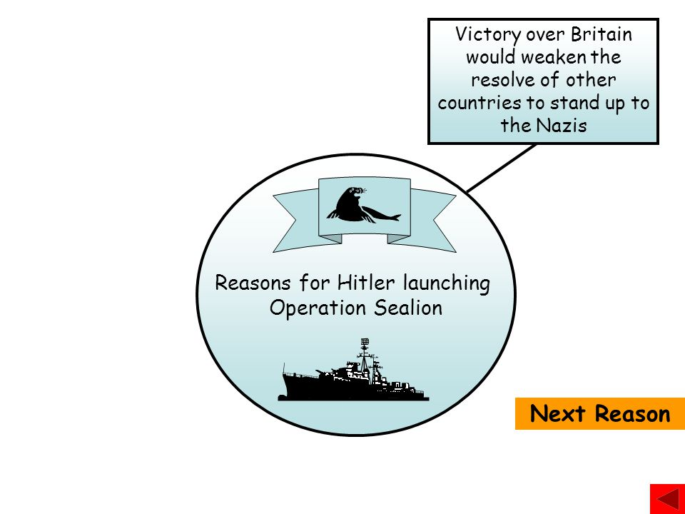 Reasons for Hitler launching Operation Sealion How many reasons can you think of for Hitler launching Operation Sealion? Reason