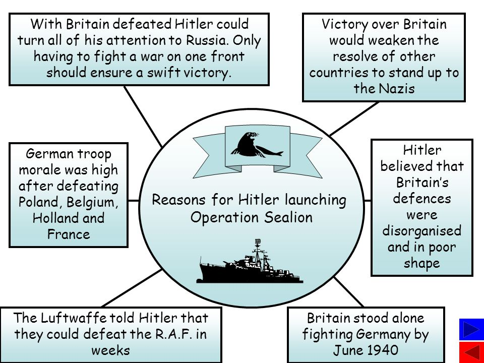 Reasons for Hitler launching Operation Sealion Britain stood alone fighting Germany by June 1940 The Luftwaffe told Hitler that they could defeat the R.A.F.