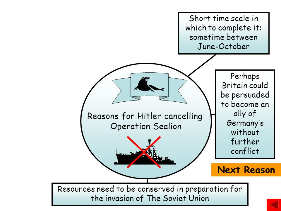 Reasons for Hitler cancelling Operation Sealion Next Reason Short time scale in which to complete it: sometime between June-October Perhaps Britain co