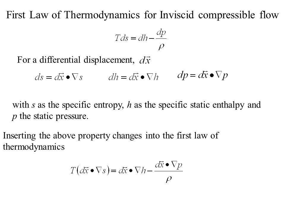 First Law of Thermodynamics for Inviscid compressible flow with s as the specific entropy, h as the specific static enthalpy and p the static pressure.