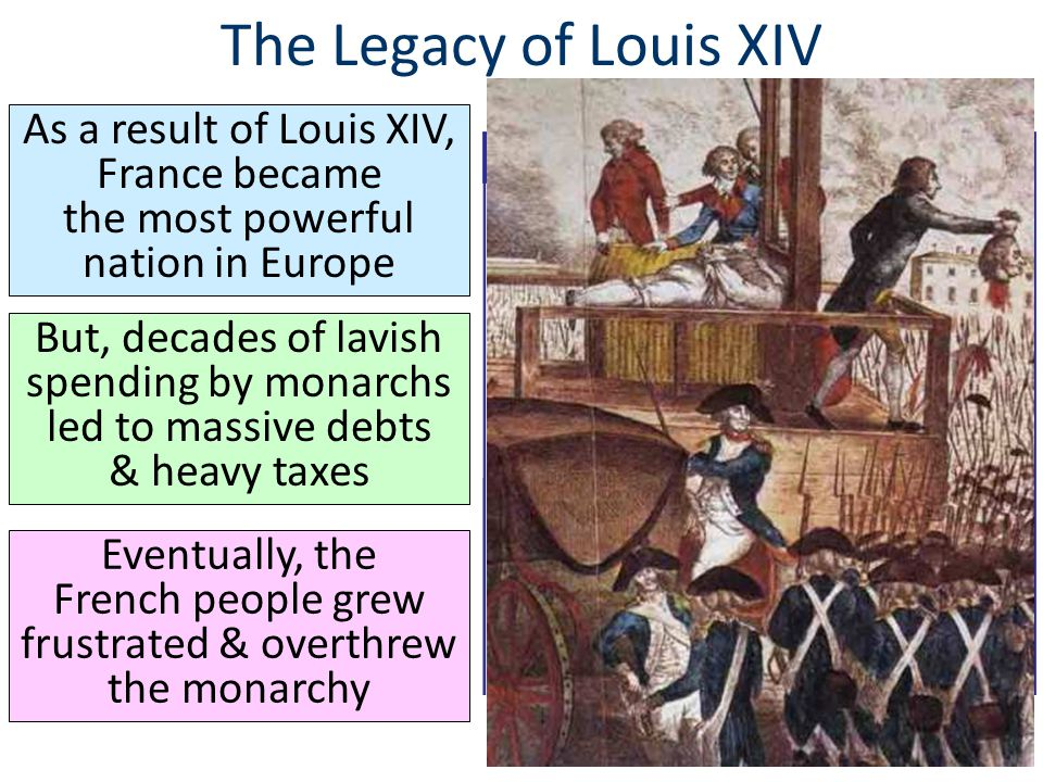 The Legacy of Louis XIV As a result of Louis XIV, France became the most powerful nation in Europe But, decades of lavish spending by monarchs led to