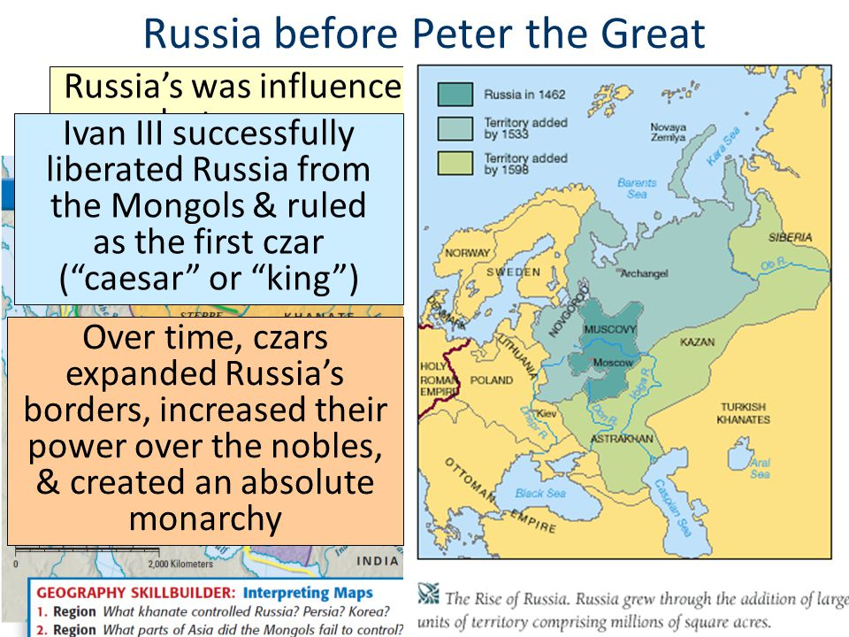 Russia before Peter the Great Russia's was influenced by the Byzantine Empire but was conquered by the Mongols Ivan III successfully liberated Russia