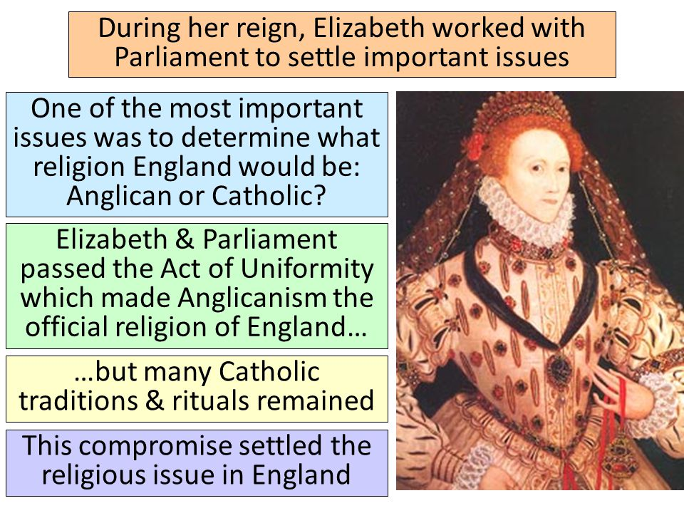 One of the most important issues was to determine what religion England would be: Anglican or Catholic? Elizabeth & Parliament passed the Act of Unifo