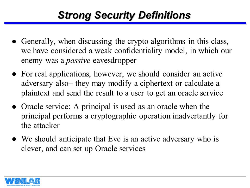Strong Security Definitions, pg.