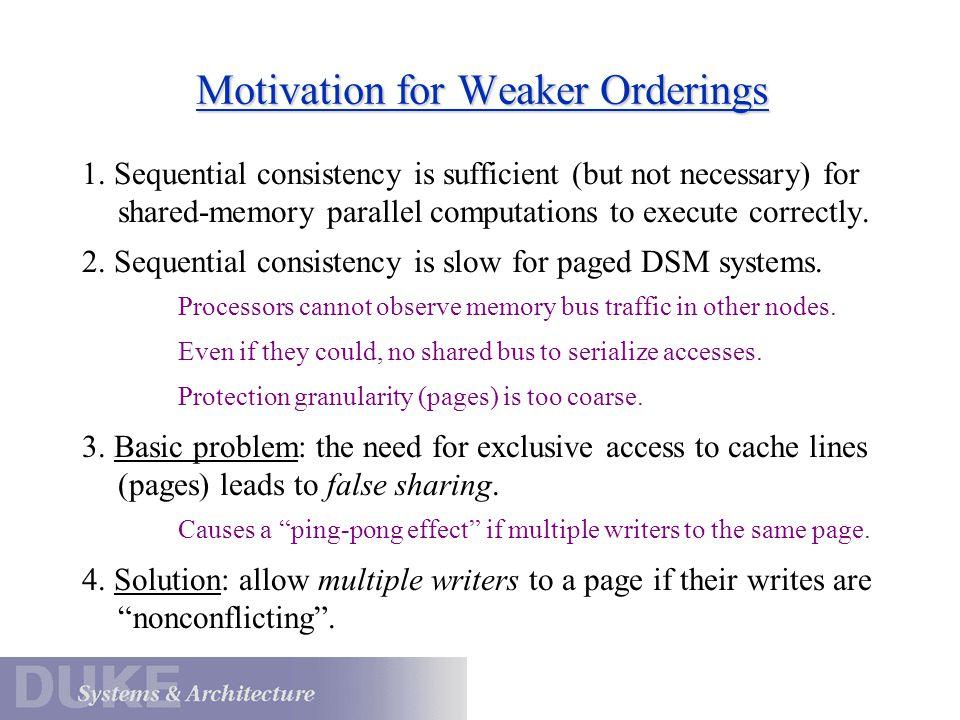 Motivation for Weaker Orderings 1.