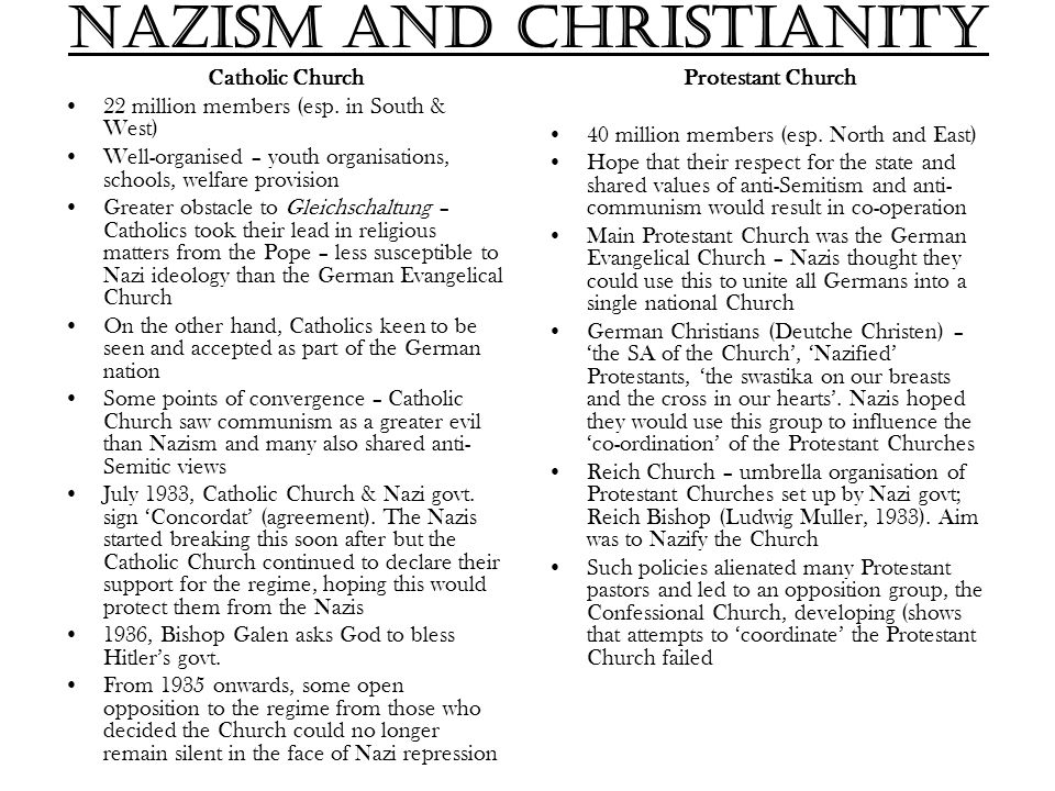 Nazism and Christianity Catholic Church 22 million members (esp. in South & West) Well-organised – youth organisations, schools, welfare provision Gre
