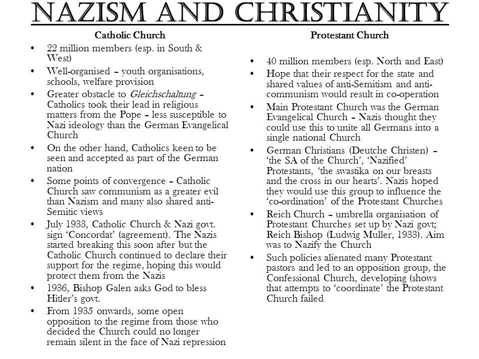 Nazism and Christianity Catholic Church 22 million members (esp.