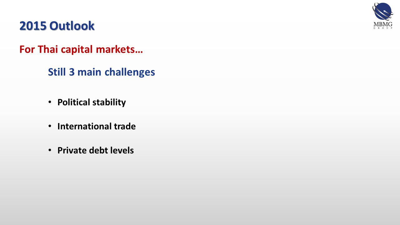 For Thai capital markets… 2015 Outlook Still 3 main challenges Political stability International trade Private debt levels