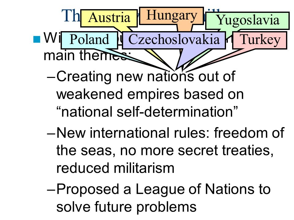 """The Treaty of Versailles Fourteen Points ■Wilson's Fourteen Points contained 3 main themes: –Creating new nations out of weakened empires based on """"na"""