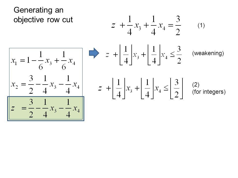 (weakening) (1) (2) (for integers) Generating an objective row cut