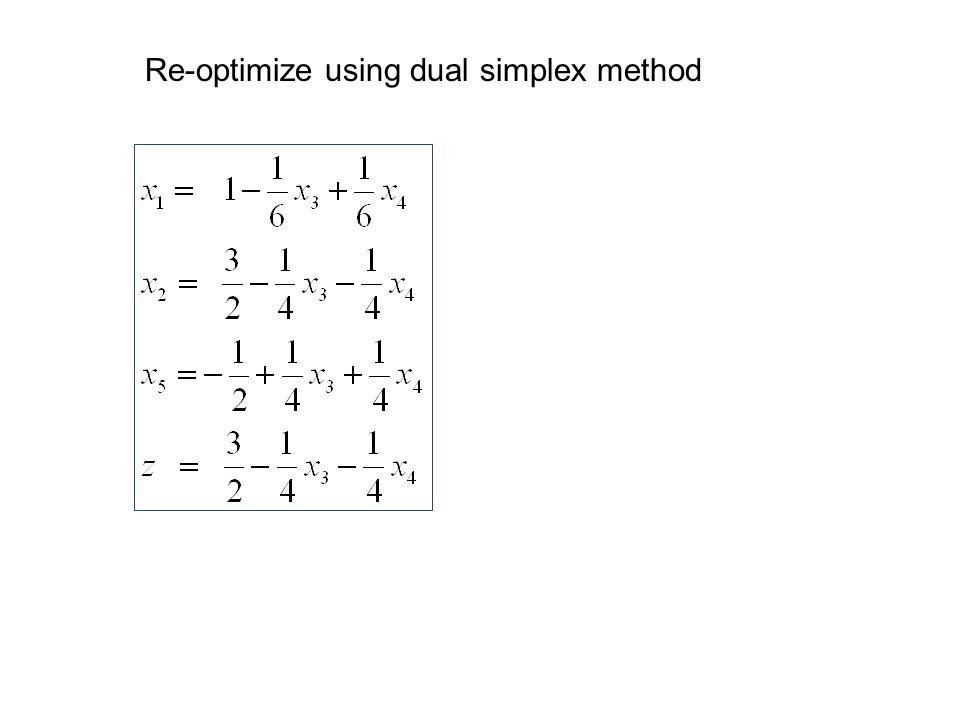 Re-optimize using dual simplex method