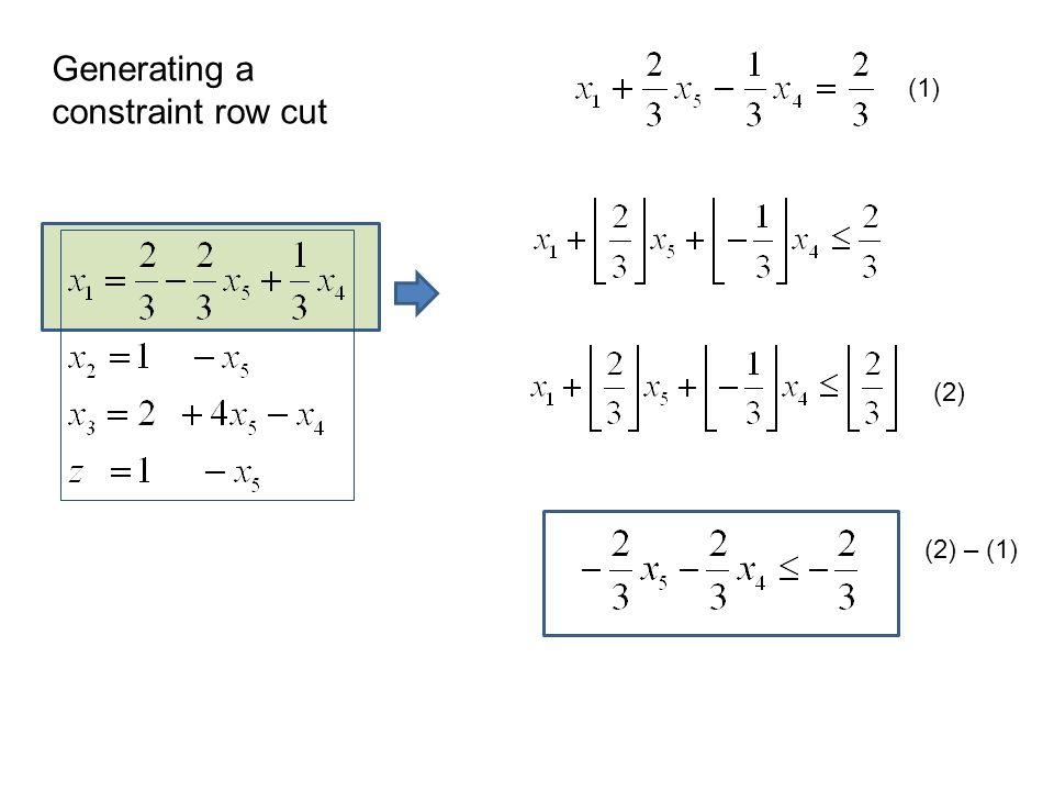 (1) (2) (2) – (1) Generating a constraint row cut