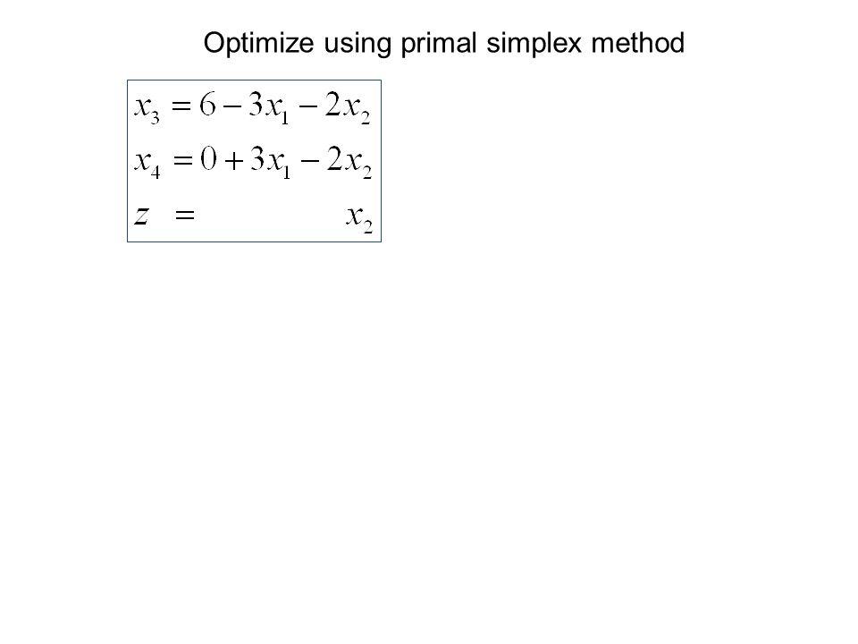 Optimize using primal simplex method