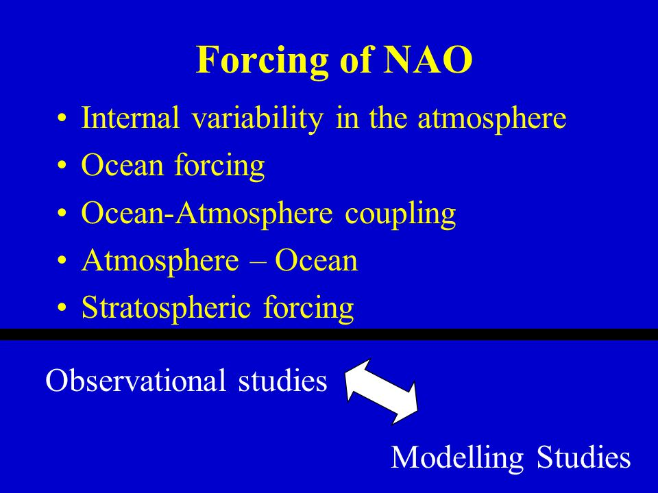Internal variability in the atmosphere Ocean forcing Ocean-Atmosphere coupling Atmosphere – Ocean Stratospheric forcing Observational studies Modelling Studies