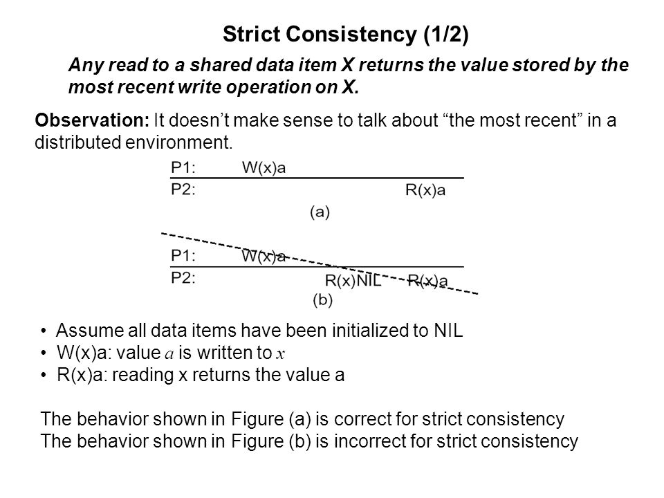 Strict Consistency (1/2) Any read to a shared data item X returns the value stored by the most recent write operation on X. Observation: It doesn't ma