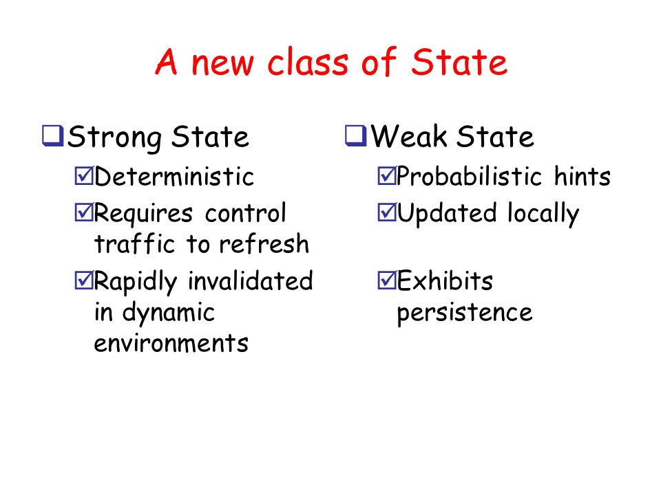STATE B STATE B Hard, Soft and Weak State ab INSTALL STATE A STATE A REMOVE Hard StateSoft State UPDATE Time elapsed since state installed/refreshed Weak State Confidence in state information Weak State is natural generalization of soft state