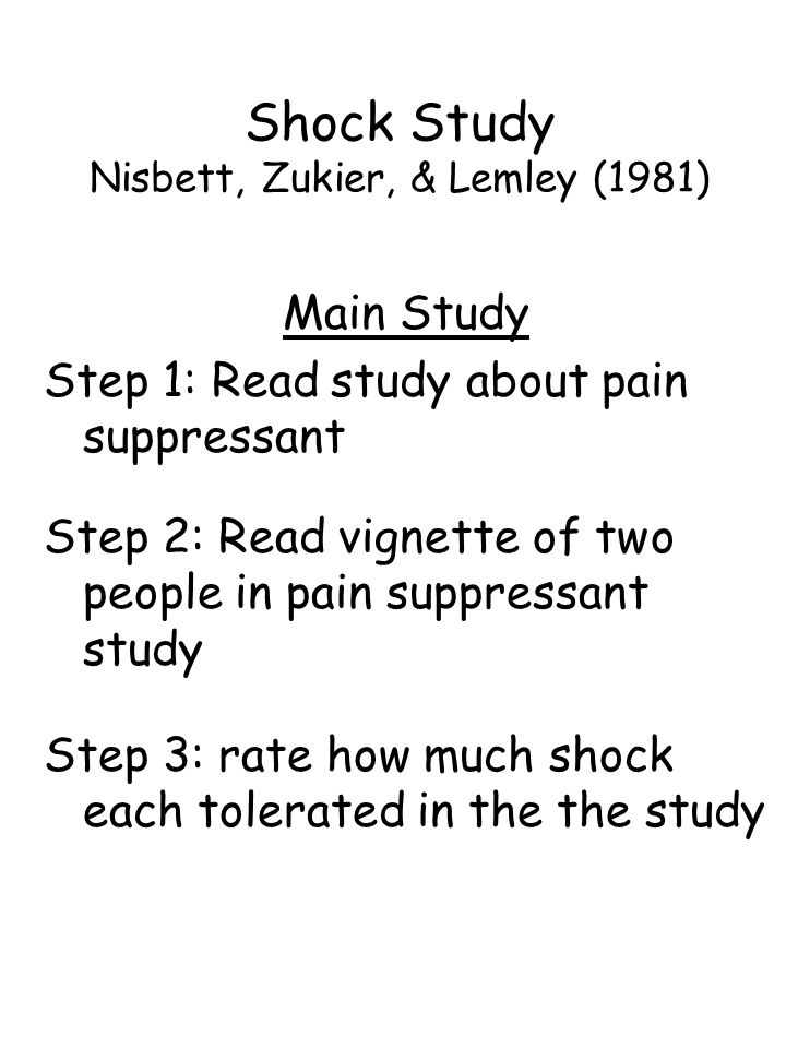 Main Study Step 1: Read study about pain suppressant Step 2: Read vignette of two people in pain suppressant study Step 3: rate how much shock each tolerated in the the study Shock Study Nisbett, Zukier, & Lemley (1981)