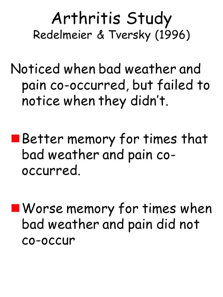 Noticed when bad weather and pain co-occurred, but failed to notice when they didn't.