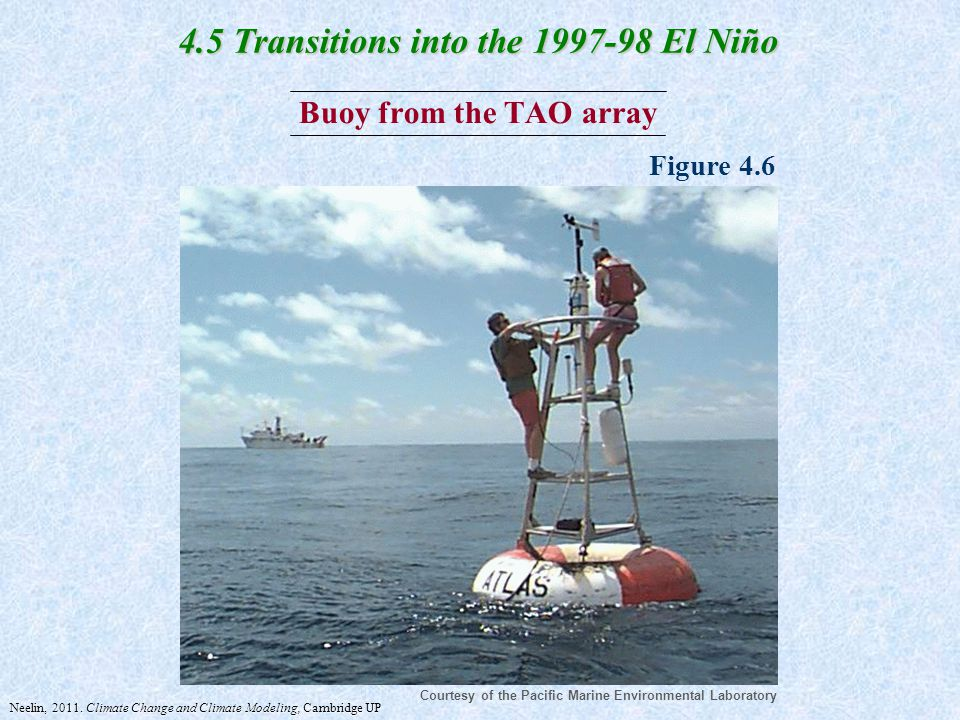 Buoy from the TAO array Courtesy of the Pacific Marine Environmental Laboratory Figure 4.6 4.5 Transitions into the 1997-98 El Niño Neelin, 2011.