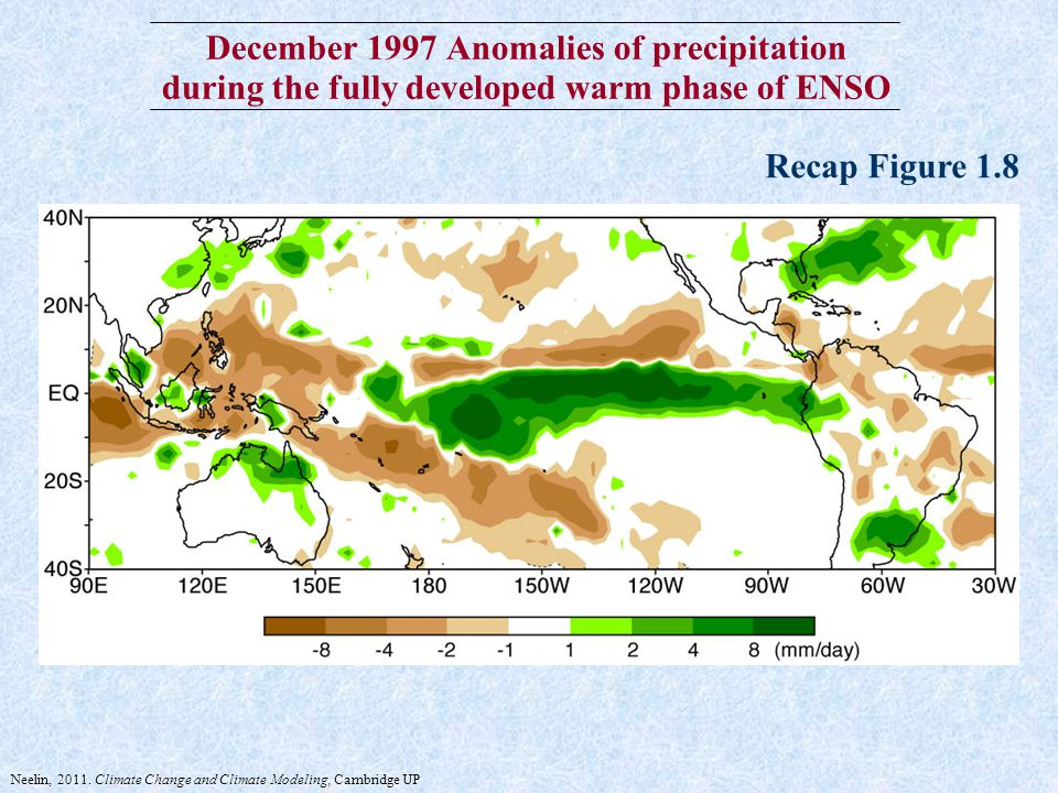 December 1997 Anomalies of precipitation during the fully developed warm phase of ENSO Recap Figure 1.8 Neelin, 2011.