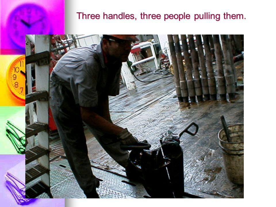 Three handles, three people pulling them.