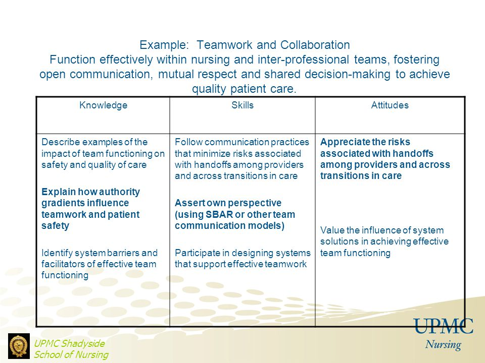 Example: Teamwork and Collaboration Function effectively within nursing and inter-professional teams, fostering open communication, mutual respect and