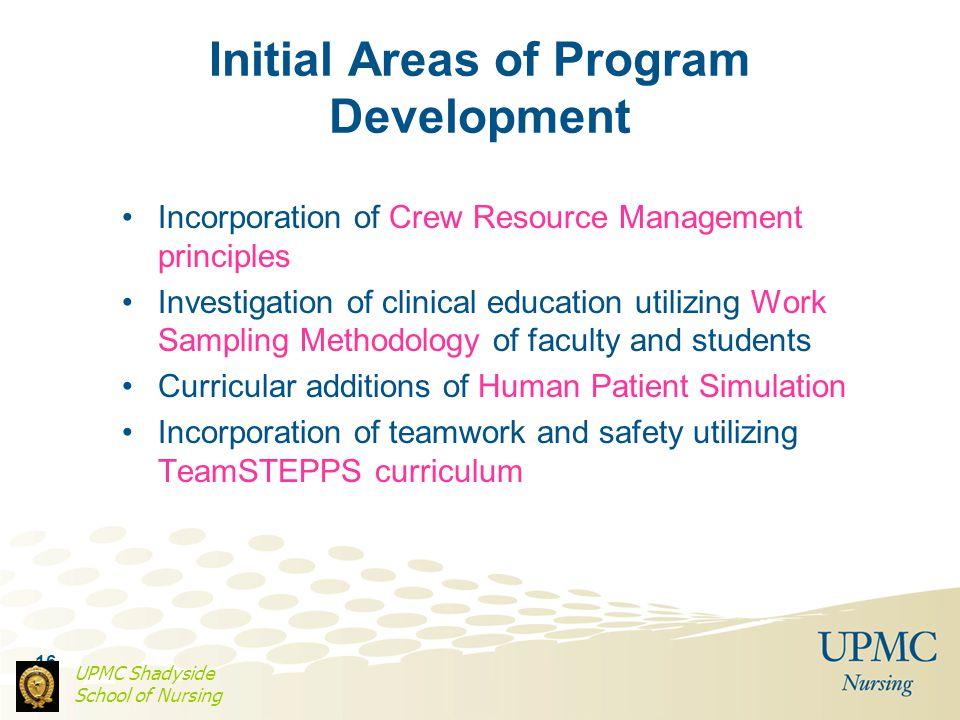 16 Initial Areas of Program Development Incorporation of Crew Resource Management principles Investigation of clinical education utilizing Work Sampli